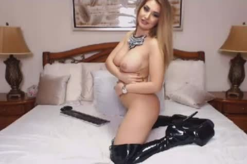 gorgeous blonde ladyboy acquires charming Im Her Leather Boots